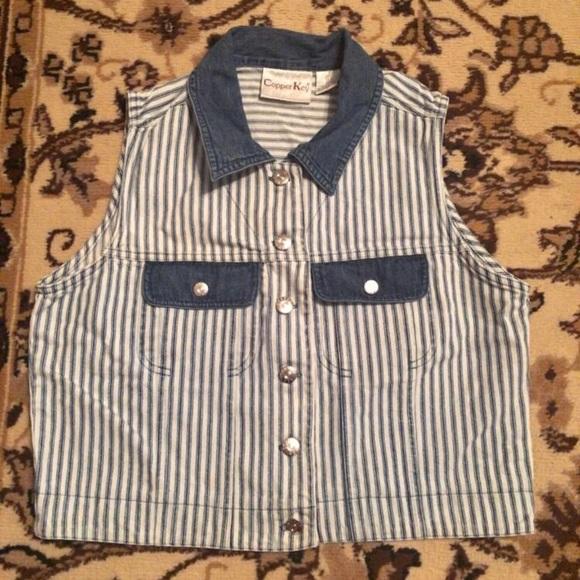 Copper Key Jackets & Blazers - Vintage Blue & White Stripped Vest